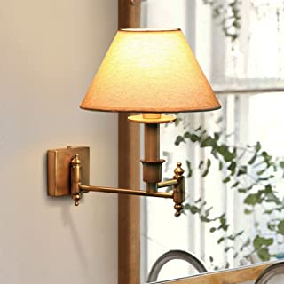 Crayom 1-Light European Adjustable Bronze Metal Wall Lamp with Cloth Lampshade Modern Simplicity Bedroom Bedside Lamp Wall Light E27 Edison Corridor Aisle Staircase Wall Sconce