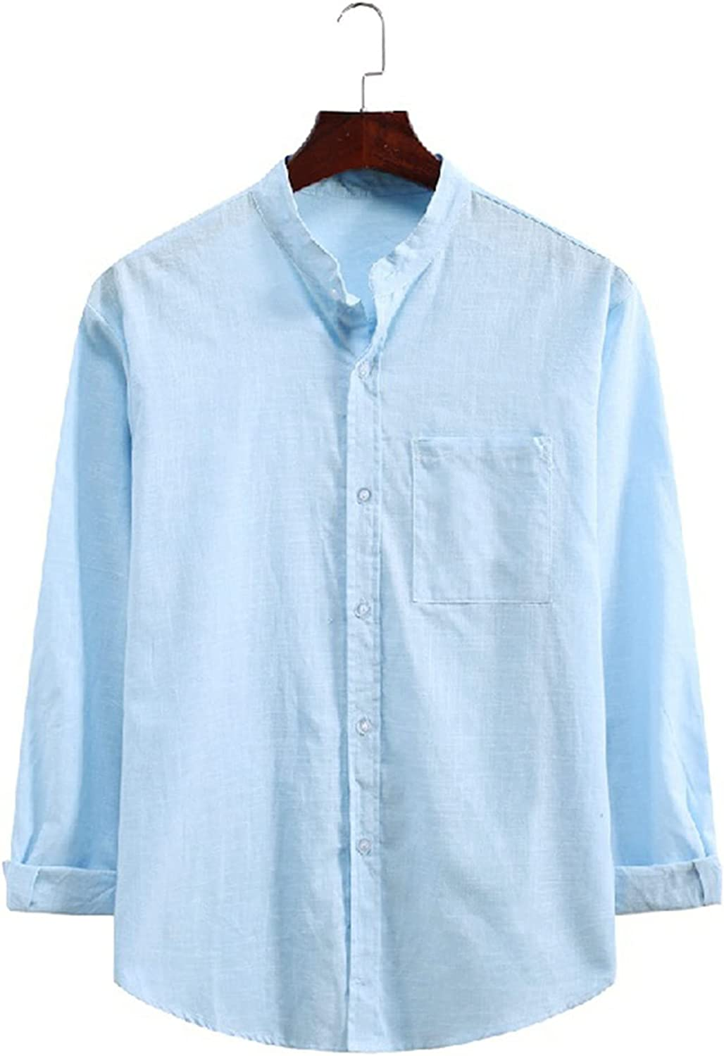 PAOGE Men's Casual Solid Color Lapel Striped Long-Sleeved Shirt Top Blouse