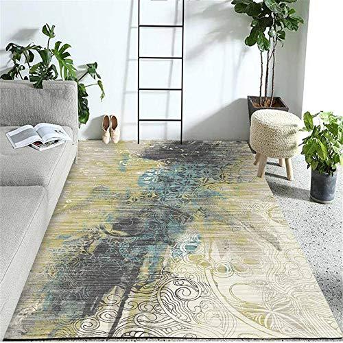 RUGMYW No Alérgico alfombras de habitacion Baratas Impresión Abstracta Azul Amarilla Beige Gris alfombras Puerta Entrada 100X200cm