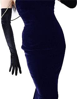 DooWay 23-inch Black Velvet Opera Long Gloves Evening Elastic Stretchy Women Finger Gloves One Size