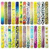 CKANDAY Paquete de 26 pulseras para fiestas con diversos diseños, animales, diseño de corazón, bandas de muñeca retro para niños, para rellenos, bolsa de regalos escolar, juguetes pequeños