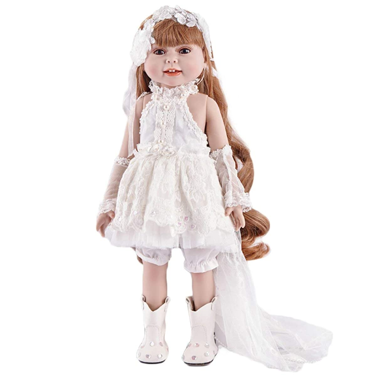チップロゴ喉が渇いたReborn Baby Dolls Reborn Baby Dolls Handmade Livelike Realistic Real Baby Baby Doll 18 Inch 45 Cm White Mini Dress Eyes Op...