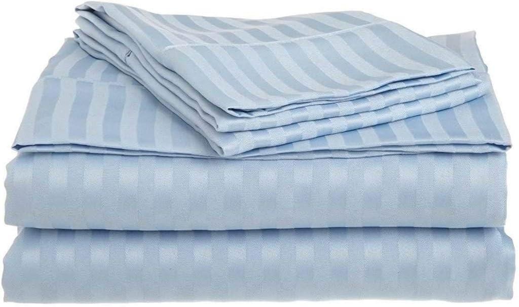 Waterbed Sheets Set- Sky Blue King Selling Purchase rankings California Stripe Cott