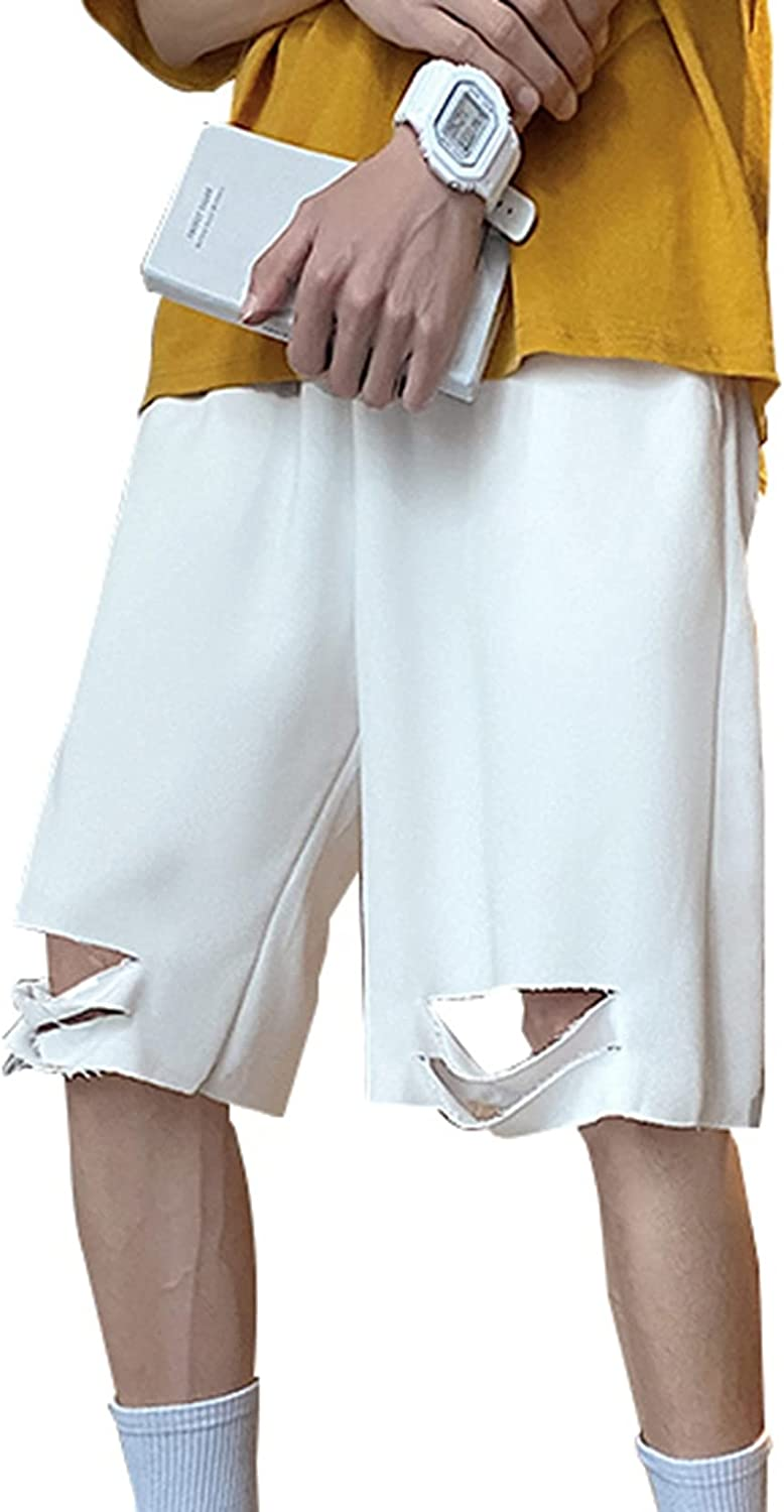 Men's Casual Ripped Shorts Summer Loose Skin-Friendly Quick-Drying Joggers Straight Five-Point Pants for Wild Wear