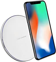 QI Wireless Fast Charger Station 9V 1A Wireless Charging Dock Pad Air Power Adapter with 3ft Cable kit for iPhone X 8 Plus Samsung Galaxy Note 8 S8+ Plus S7 S6 Edge by Elekmall (Silver)