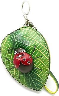 MOREFUN Handmade Leather Coin Purse Key Chain Card Wallet Holder Zipper Bag