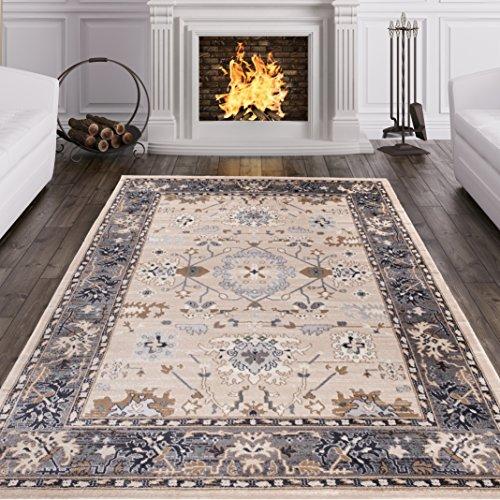 Alfombra Oriental Persa Diseño Clásico OTOÑO Beige Claro Tamaño S-XXXL (200 x 300 cm)