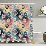 CHENHAO Cortina de Ducha Lavable Batik decoración Abstracta Espiral Espiral Figuras giratorias en Di...