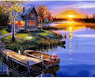Paint by Numbers for Adults Acrylic Oil Painting by Numbers Kit for Kids Beginner by TOCARE, Romantic Countryside in Sunset Pattern 16x20inch-Frameless