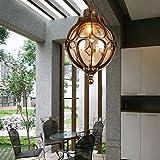 Neixy-europäischen Stil Kronleuchter Retro einfache Außen Balkon Korridor Gang Garten Pendelleuchte Villa Pavillon Trauben Rahmen wasserdichte Hängeleuchten (Color : Bronze)