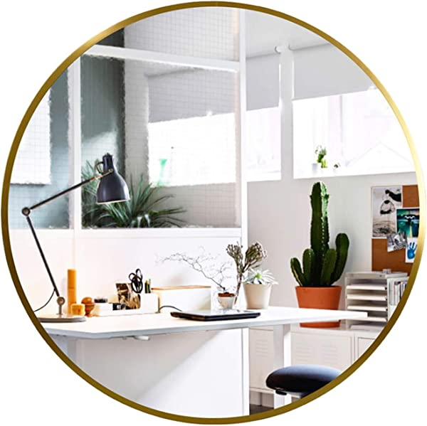Elevens Wall Round Mirror Popular 24 Inch Round Wall Mounted Decorative Mirror Metal Frame Best For Vanity Washrooms Bathroom And Living Rooms Gold
