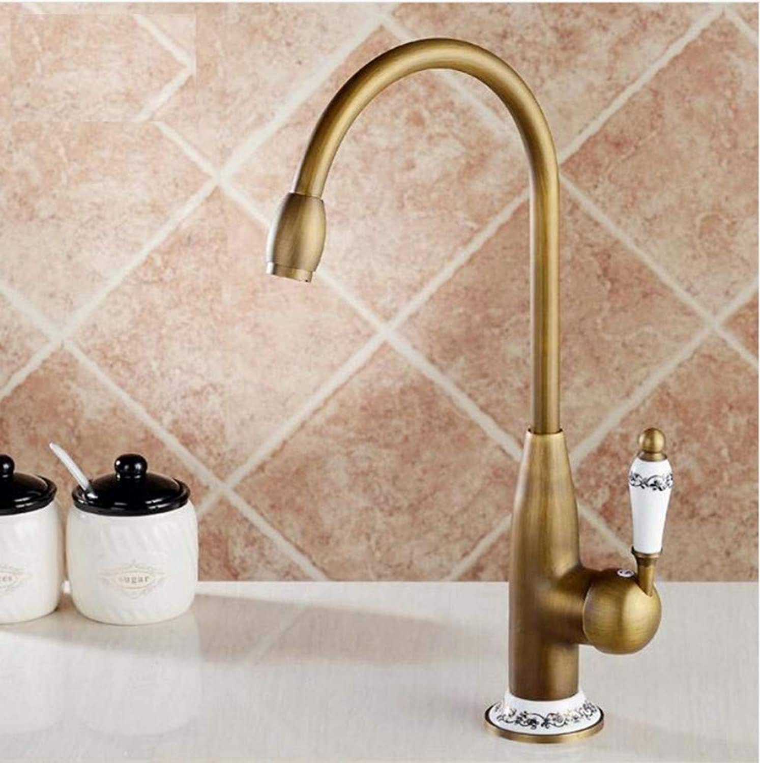 Dwthh Kitchen Faucets Antique Bronze Faucet for Kitchen Mixer Tap with Ceramic Cold and Hot Kitchen Sink Tap Water Mixers
