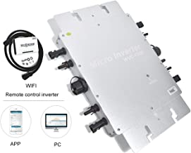 PIKASOLA Intelligent 1200W Waterproof IP65 Micro Solar Inverter, 22-50VDC Wide Input Voltage to auto 110/230VAC with APP 433mhz communication Monitoring for 30v/36v Solar Panels,MPPT Grid Tie Inverter