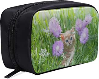 Cute Kitten Cat Sitting In Flowers Portable Travel Makeup Cosmetic Bags Organizer Multifunction Case Small Toiletry Bags For Women And Men Brushes Case