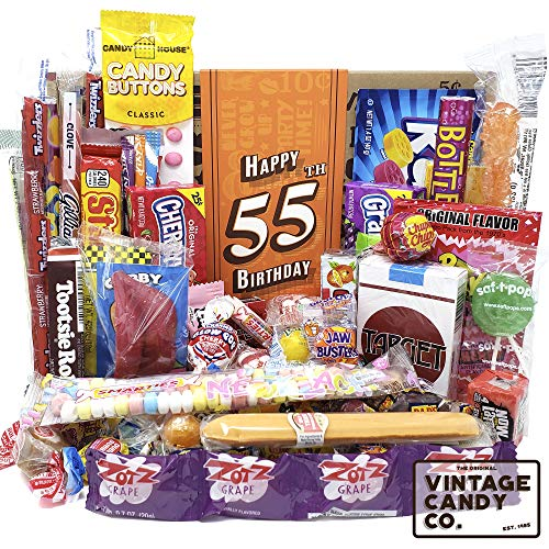 VINTAGE CANDY CO. 55TH BIRTHDAY RETRO CANDY GIFT BOX - 1965 Decade Childhood Nostalgic Candies - Fun Funny Gag Gift Basket - Milestone 55 Birthday PERFECT For FIFTY FIVE Years Old Man | Woman
