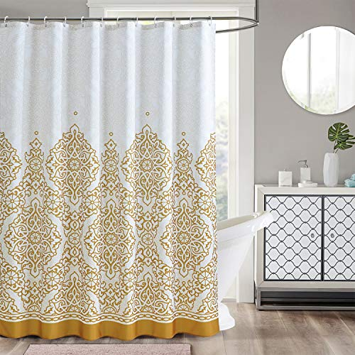 LanMeng Elegance Luxury Extra Long Fabric Shower Curtain for Bathroom, Classic Charm European Pattern, Gold, Machine Washable, 72-by-78 inches