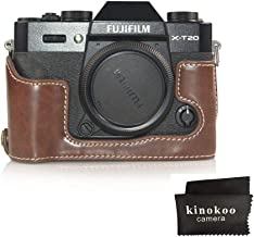 kinokoo Camera Leather Half Case Bottom Case for Fujifilm X-T20 X-T30 Leather Bottom open-able  coffee