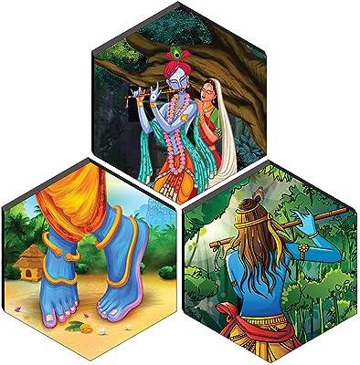 SAF Set of 3 Hexagon Radha Krishna couple MDF Board UV Textured Painting 17 Inch X 17 Inch SANFHXS30367