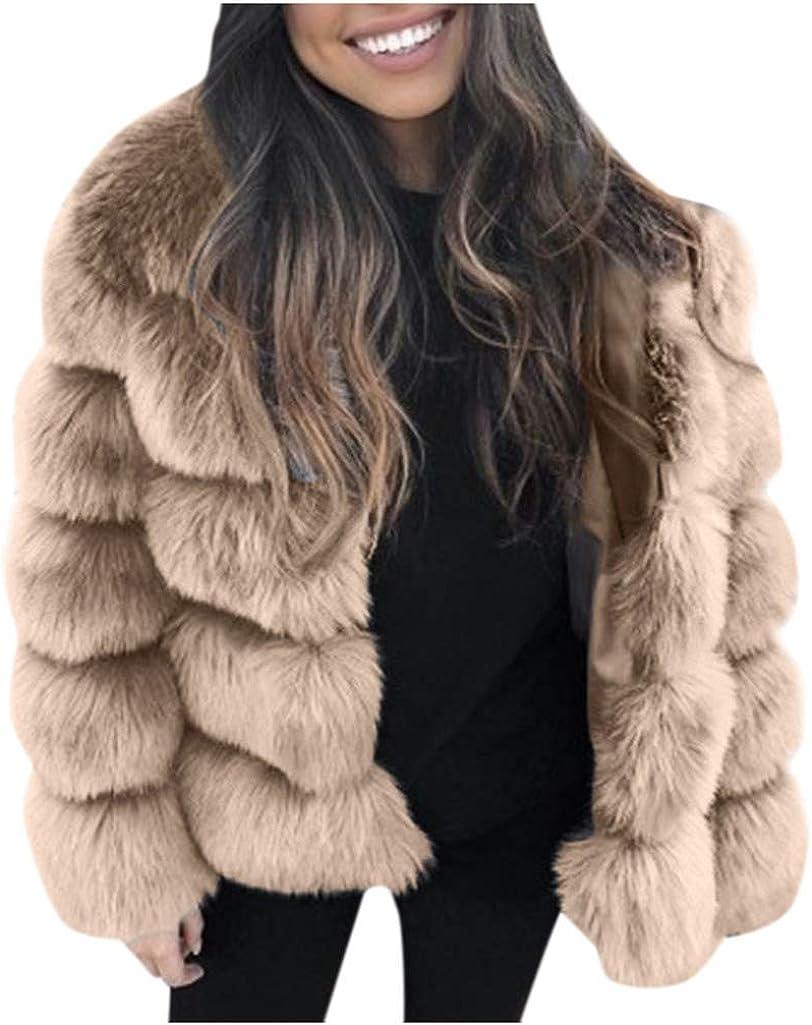 Women's Faux Fur Coat, Kangma Long Sleeve Winter Warm Fleece Coat Short Thick Jacket Outwear