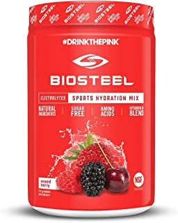 BioSteel High Performance Sports Drink Powder, Naturally Sweetened with Stevia, Mixed Berry, 45 servings