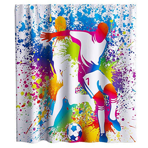Game Football Soccer Shower Curtain Sport Theme Fabric...