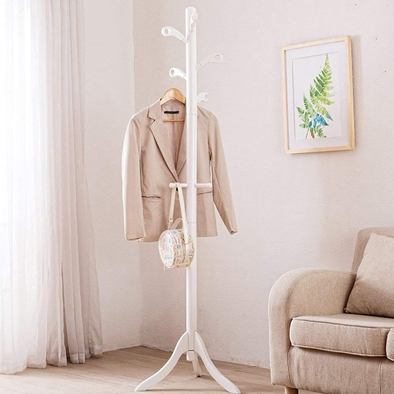 Coat Rack Coat and Hat Rack European Style Multifunction Beech Simple Stand Storage Wall Hanger Wood Haiming (color   White)