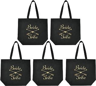 ElegantPark Bride Tribe Squad Tote Bridesmaid Wedding Bachelorette Bridal Shower Gifts Shoulder Bags Black Cotton Gold Glitter 5 Pcs