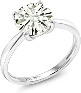 10K White Gold Solitaire Ring Forever Classic Round 1.00ct (DEW) Created Moissanite by Charles & Colvard