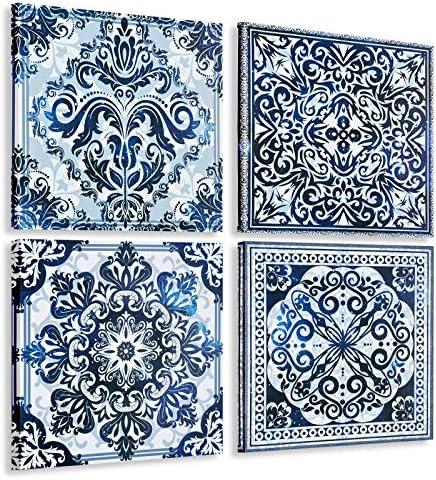 Boniboni Canvas Wall Art Flower Pattern Picture Prints Navy Blue Canvas Picture Artwork 4 Pieces product image