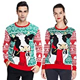 uideazone Women Mens Ugly Christmas Sweater Long Sleeve Crew-Neck Knitted Snowflake Cow Printed Pattern Pullover Jumper