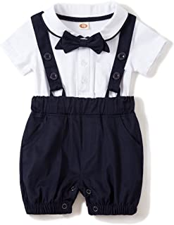 Baby Boys Bow Tie Gentleman Romper Jumpsuit Outfits Suits Overalls Clothes Set