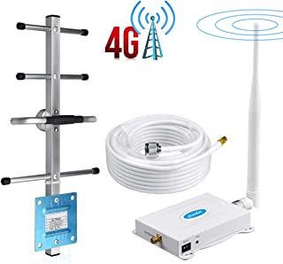 Phonelex1 Cell Phone Signal Booster AT&T 4G LTE Band 12/17T-Mobile 700Mhz Signal Booster ATT Cell Phone Booster Repeater Amplifier AT&T Mobile Phone Signal Booster with Whip+Yagi Antenna Kit For Home