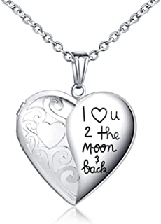 Locket Necklace That Holds Pictures I Love You to The Moon and Back Photo Memory Lockets Necklaces