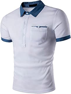 Challyhope Mens Polo Shirt Buttons Down Half Cardigans Short Sleeve Slim Fit Casual Tees