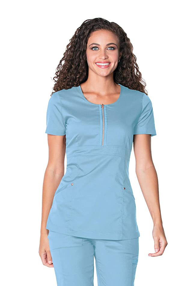 Landau Women's Blush Zip Front Scrub Top Diva