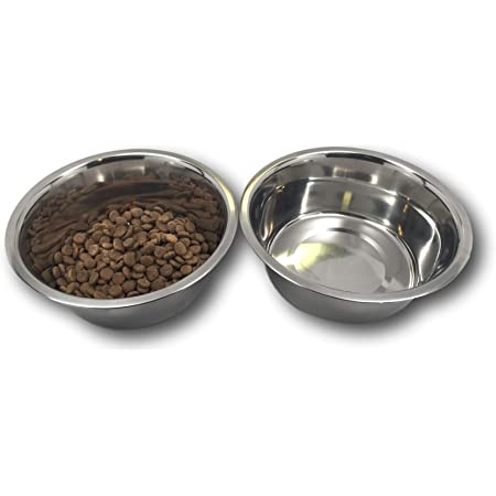 "Top Dog Chews Stainless Steel Dog Bowl Set, 8"" Large, 8 Cups, 64oz / 2 Quart. No stickers to remove."