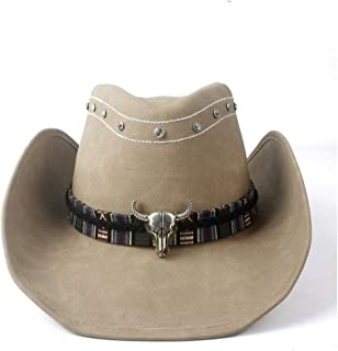 XueQing Pan Women Men Western Cowboy Cowgirl Leather Hat Wide Brim Hat Bull Head Leather Band