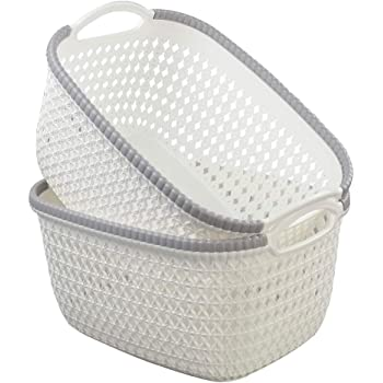 Morcte 6-Pack Plastic Storage Organization Basket Gray