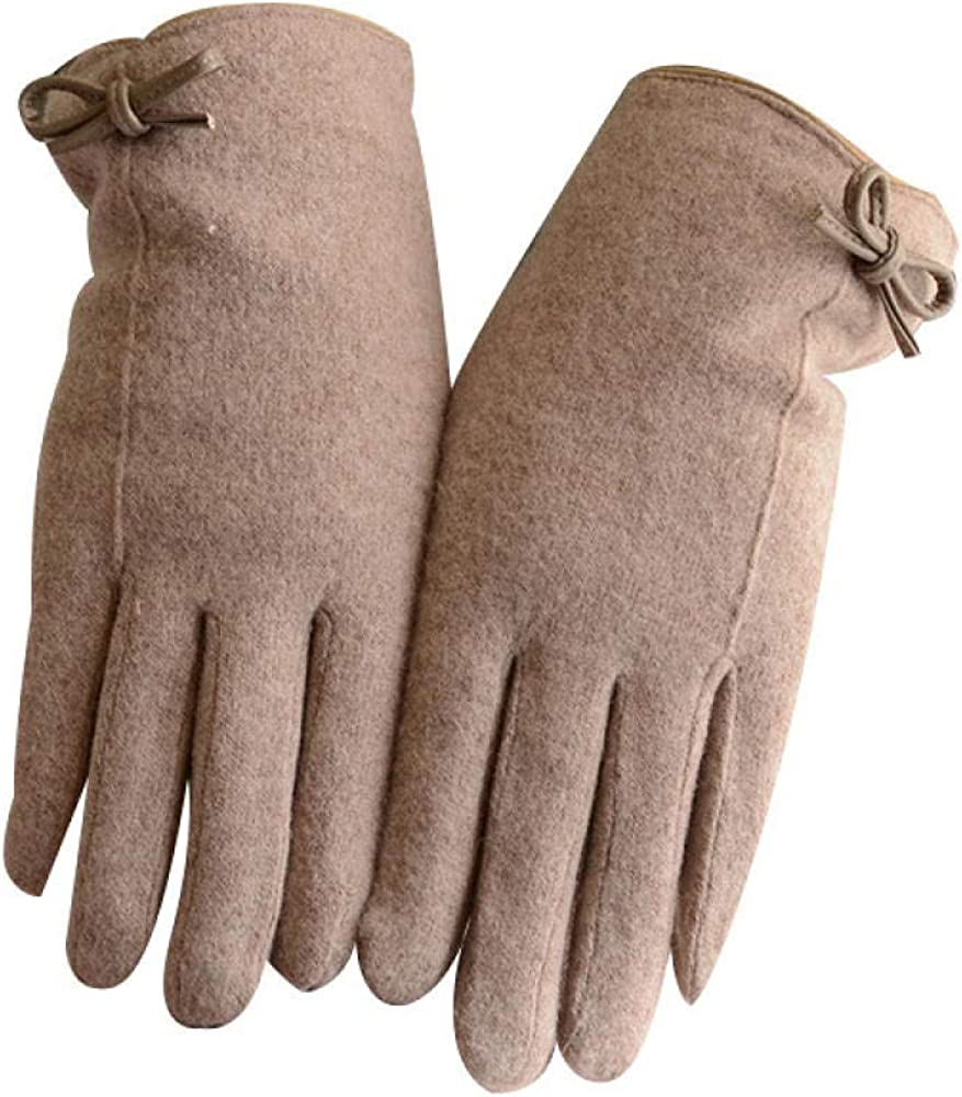 Women's Cold Weather Gloves Plus velvet touch screen winter driving five fingers points to windproof wool
