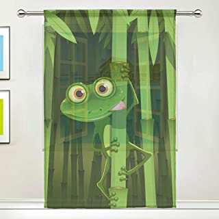 rodde Green Curious Frog Bamboo Rod Pocket Sheer Voile Window Curtain Panels for Bedroom & Living Room 55x84 Inch 1 Piece