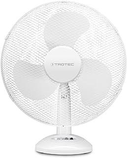 TROTEC Ventilador de Mesa TVE 14, 50 W, Oscilación Automática de 90°, 3 Velocidades de Ventilación, Base de Apoyo estable y Antideslizante, Portátil, Silencioso, Oficina, Hogar, Blanco