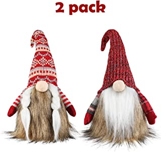Meriwoods Plush Tomte Gnome Couple, 18 Inches Traditional Swedish Nisse with Faux Fur, Scandinavian Christmas Decorations, Santa Ornaments for Nordic Holiday Decor, Xmas Gift for Family Friends Kids