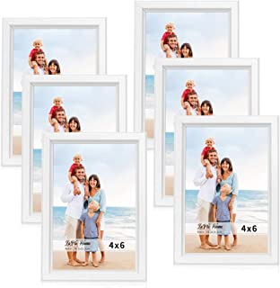 LaVie Home 4x6 Picture Frames (6 Pack, White) Simple Designed Photo Frame with High Definition Glass for Wall Mount & Table Top Display, Set of 6 Classic Collection