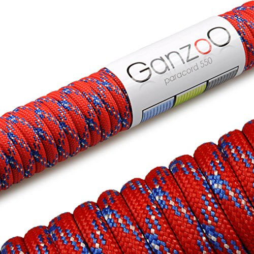 Ganzoo Paracord 550 Corde, 31 m, pour Bracelet, Laisse pour Chien, Couleur: Rouge, Bleu
