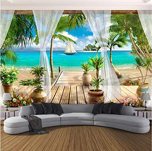 Fotobehang Fotobehang Thuis Aangepaste 3D Fotobehang Balkon Zandachtige Strand Zeezicht 3D Woonkamer Slaapkamer Slaapkamer TV Achtergrond Muur Wallpaper Home Decor