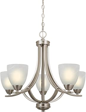 "Kira Home Weston 24"" Contemporary 5-Light Large Chandelier + Alabaster Glass Shades, Adjustable Chain, Brushed Nickel Fin"