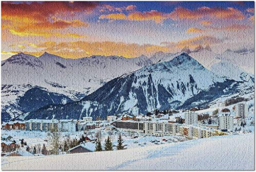 YTCCYBZ HD Les Sybelles France - Famous Ski Resort in The Alps During an Orange Sunset 9010924 (Premium 500 Piece Jigsaw Puzzle for Adults 52*38 cm)