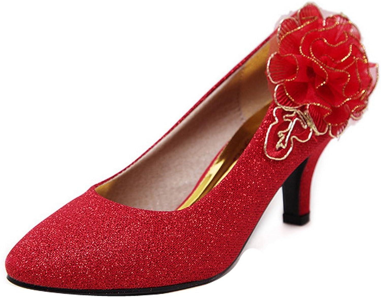 Ladola Womens Flowers Spikes Stilettos Low-Cut Uppers Sequin Pumps shoes