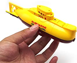 Tipmant Mini RC Submarine Toy Remote Control Boat Ship Electronic Waterproof Diving in Water Swimming Pool Kids Gift (Yellow)