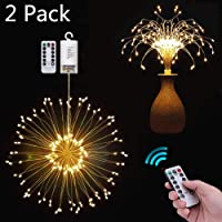 2-Pack 8 Modes Waterproof Firework String Fairy Lights with Remote Control for Indoor Outdoor Garden Wedding Party Decoration (Warm White)